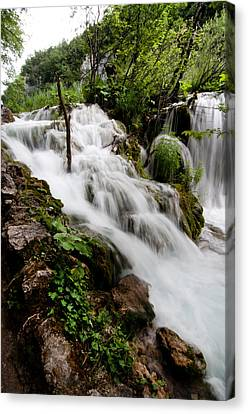 Canvas Print featuring the photograph Waterfall In Plitvice by Laura Melis