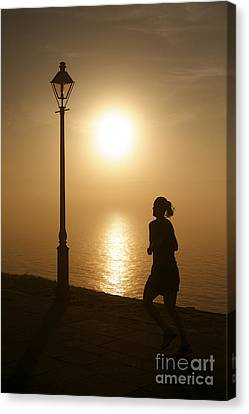 Waterfront Sidewalk In The Golden Morning Dawn Canvas Print