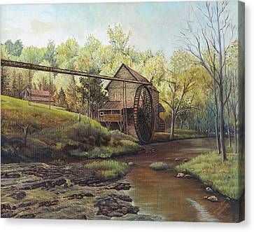 Canvas Print featuring the painting Watermill At Daybreak  by Mary Ellen Anderson