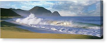 Baja California Canvas Print - Waves Breaking On The Beach, Playa La by Panoramic Images