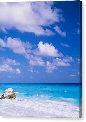 Waves On The Beach, Cancun, Quintana Canvas Print by Panoramic Images