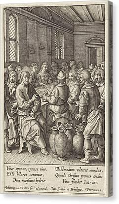 Wedding At Cana, Hieronymus Wierix Canvas Print