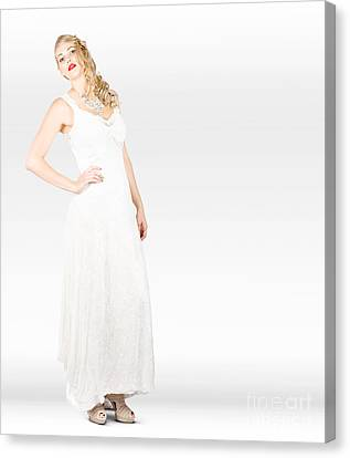 Wedding Woman Wearing Bridal Dress And Accessories Canvas Print by Jorgo Photography - Wall Art Gallery