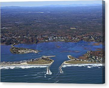 Wells Beach And Wells Harbor, Wells Canvas Print by Dave Cleaveland