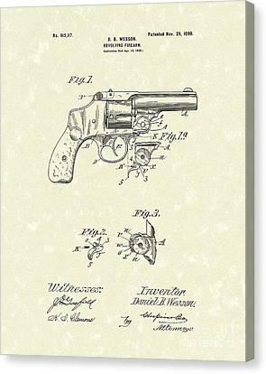 Wesson Pistol 1898 Patent Art Canvas Print