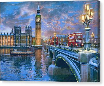 Westminster Christmas Canvas Print by Dominic Davison