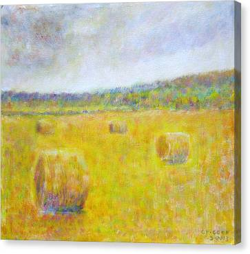 Wheat Bales At Harvest Canvas Print