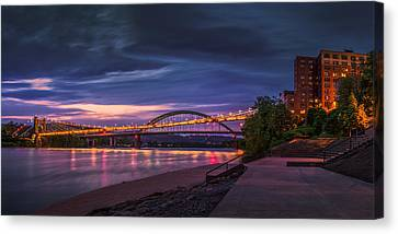 Canvas Print featuring the photograph Wheeling Suspension Bridge  by Mary Almond