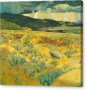 Where The Desert Meets The Mountain Canvas Print by Walter Ufer