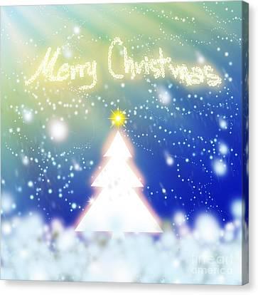 White Christmas Tree Canvas Print by Atiketta Sangasaeng