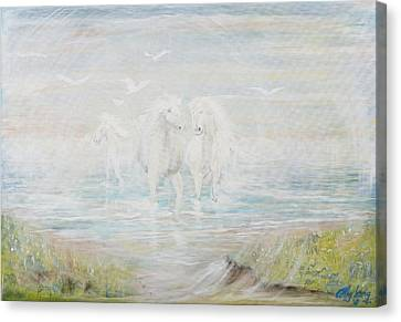 Canvas Print featuring the painting White Horses by Cathy Long