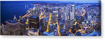 Wide Seattle Cityscape Canvas Print by Mike Reid