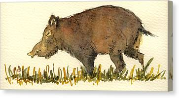 Boars Canvas Print - Wild Pig by Juan  Bosco