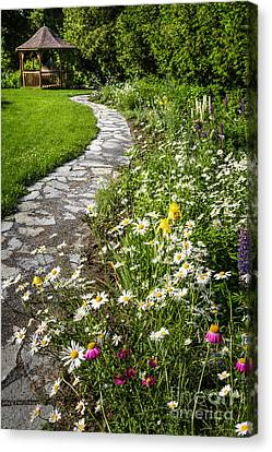 Wildflower Garden And Path To Gazebo Canvas Print by Elena Elisseeva
