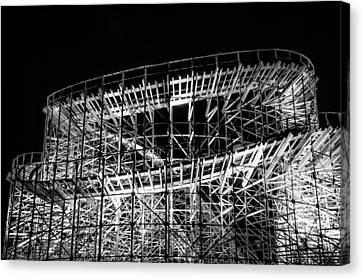 Wildwood Roller Coaster At Night In Black And White Canvas Print