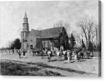 Canvas Print featuring the painting Williamsburg Church by Granger