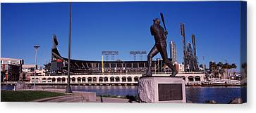 Willie Mays Statue In Front Canvas Print by Panoramic Images