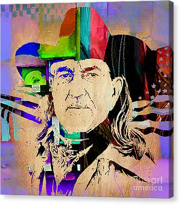 Willie Nelson Collection Canvas Print by Marvin Blaine
