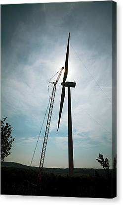 Wv Canvas Print - Wind Turbine Assembly by Jim West