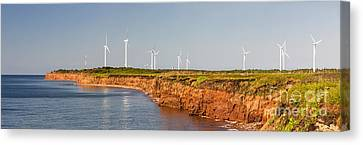 Wind Turbines On Atlantic Coast Canvas Print by Elena Elisseeva