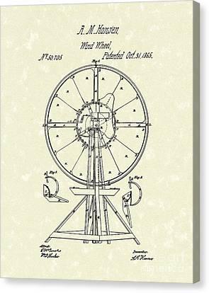 Wind Wheel 1865 Patent Art Canvas Print by Prior Art Design