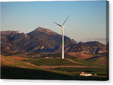 Windfarm Amidst Farmland Near Ardales Canvas Print by Panoramic Images