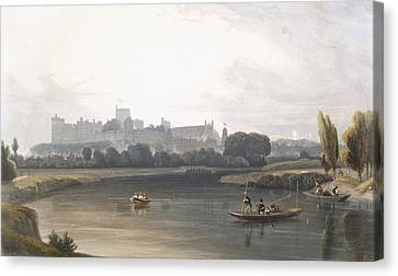 Britain Canvas Print - Windsor Castle From The River Thames by William Daniell