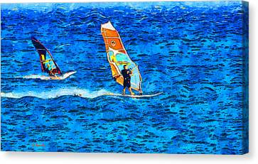Windsurfing Canvas Print by George Rossidis