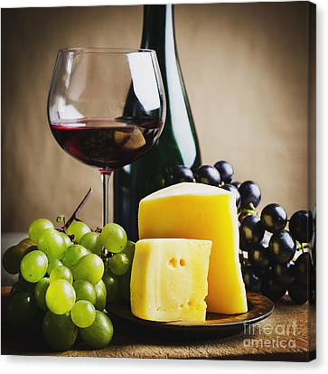 Pouring Wine Canvas Print - Wine And Cheese by Jelena Jovanovic