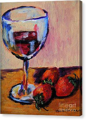 Wine And Strawberries Canvas Print