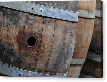 Wine Barrels In A Cellar Canvas Print