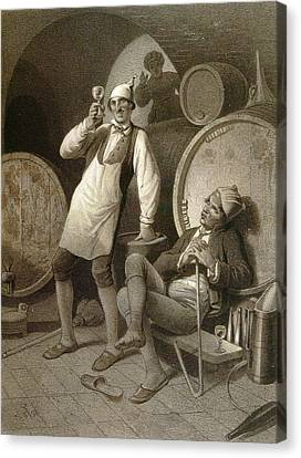 Wine Cellar, Drinking A Glass Of Wine, Two Men, Wine Canvas Print