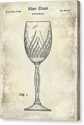 Wine Glass Patent Drawing Canvas Print by Jon Neidert