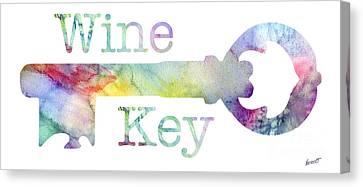 Wine Key Watercolor Canvas Print by Jon Neidert
