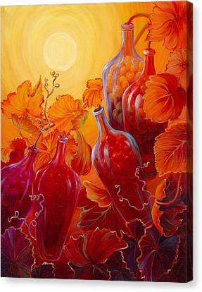 Canvas Print featuring the painting Wine On The Vine II by Sandi Whetzel