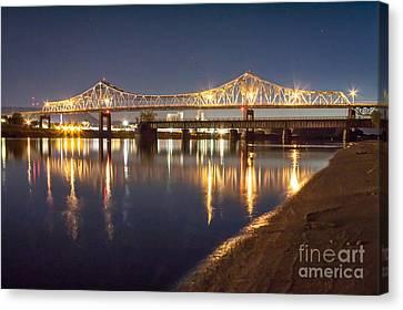 Winona Bridge At Sunset Canvas Print