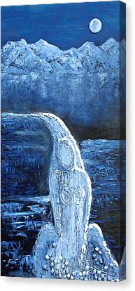 Canvas Print featuring the mixed media Winter Goddess by Angela Stout
