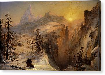 Winter In Switzerland Canvas Print by Jasper Francis Cropsey