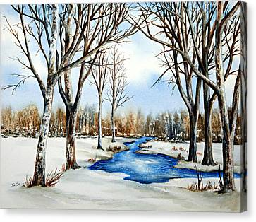 Canvas Print featuring the painting Winter Respite by Thomas Kuchenbecker