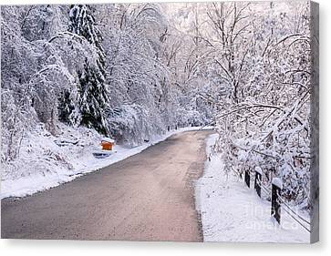 Winter Road After Snowfall Canvas Print
