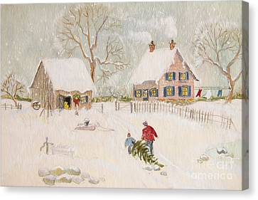Winter Scene Of A Farm With People/ Digitally Altered Canvas Print by Sandra Cunningham