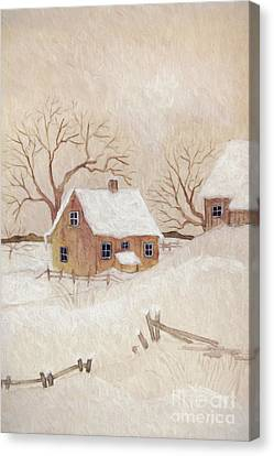 Canvas Print featuring the photograph Winter Scene With Farmhouse/ Digitally Altered by Sandra Cunningham