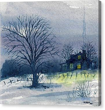 Canvas Print featuring the mixed media Winter Tree by Tim Oliver