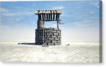 Wishing Well With Wooden Bucket On A Barren Landscape Canvas Print by Allan Swart