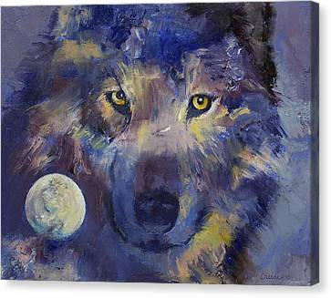 Grey Wolf Moon Canvas Print by Michael Creese