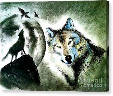 Wolf Canvas Print by Rose Wang