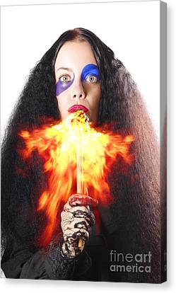 Woman Breathing Fire From Mouth Canvas Print by Jorgo Photography - Wall Art Gallery