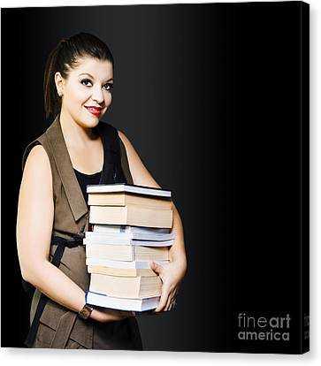 Woman Carrying Books From Library  Canvas Print by Jorgo Photography - Wall Art Gallery