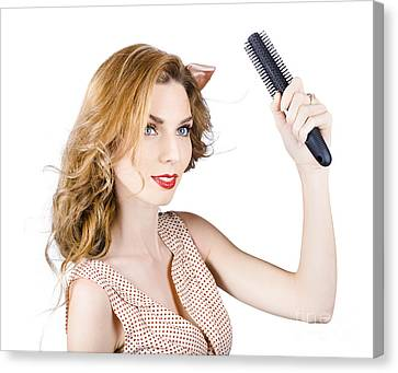 Woman Combing Cherry Blonde Hairstyle. Hair Care Canvas Print by Jorgo Photography - Wall Art Gallery