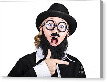 Woman Disguised As Man Gesturing Canvas Print by Jorgo Photography - Wall Art Gallery